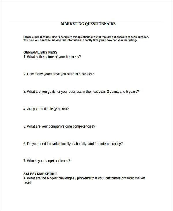 38+ Questionnaire Templates, Examples