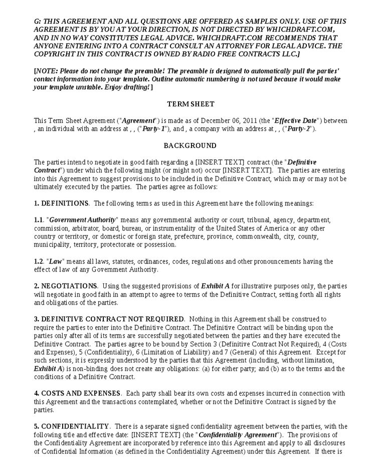 Term Sheet Template - Hashdoc