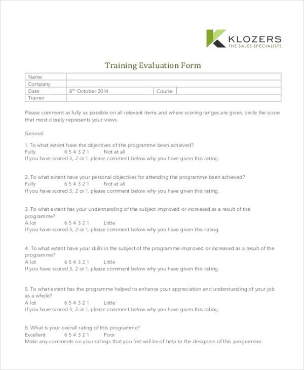 Sample Training Evaluation Form - 9+ free Documents in PDF, Doc