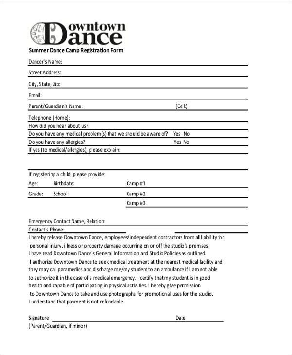 Summer Camp Registration Form Template | Template Business