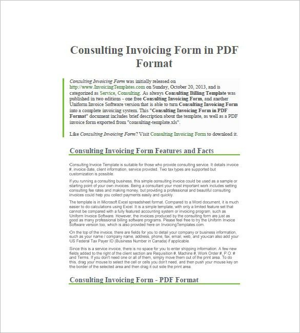Consulting/Consultant Invoice Template – 7+ Free Sample, Example ...