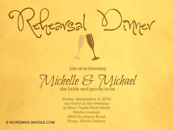 Wedding Rehearsal Dinner Invitation Wording Samples - Wordings and ...