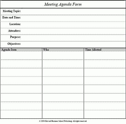 Meeting agenda form - Tools - Apply - Meeting Management - Harvard ...