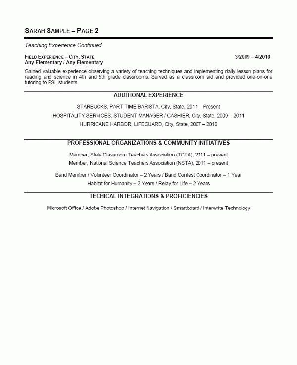 Elementary School Teacher Resume Examples - Best Resume Collection