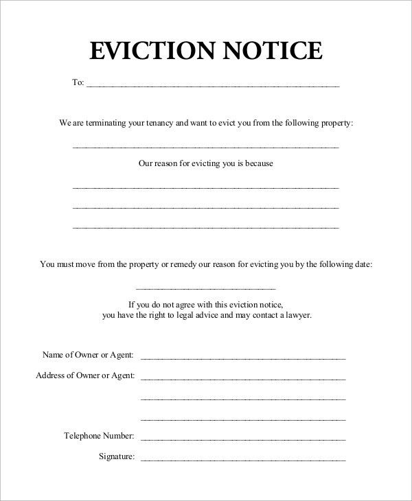 Sample Eviction Notice - 7+ Examples in Word, PDF