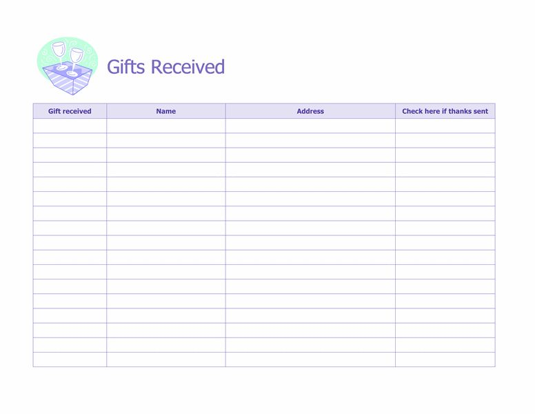 Record of gifts received - Microsoft Office Template | WEDDING ...