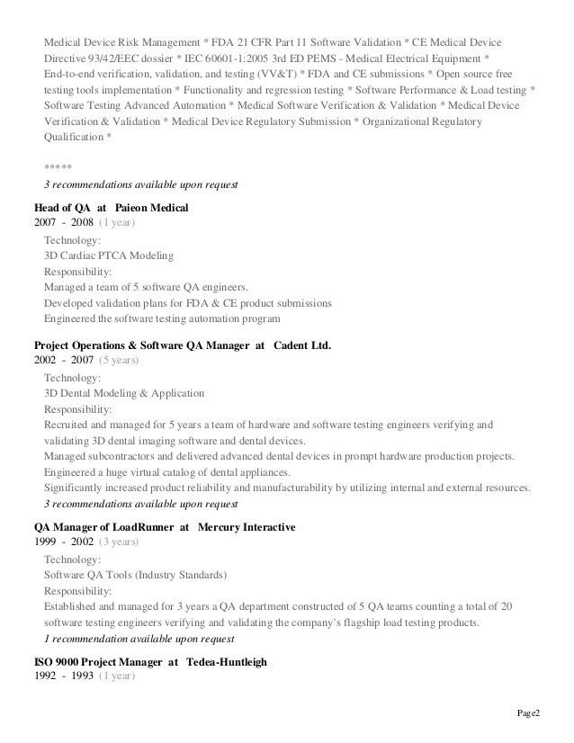 Download Regulatory Test Engineer Sample Resume ...