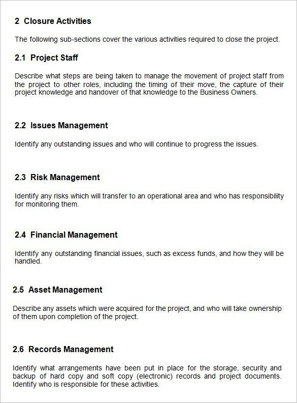 Project Closure Template. End Project Report Prince2 End Project ...