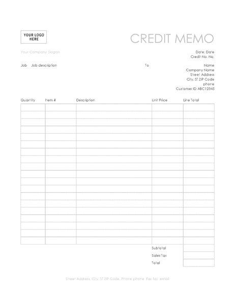 Credit memo (Simple Lines design) - Office Templates