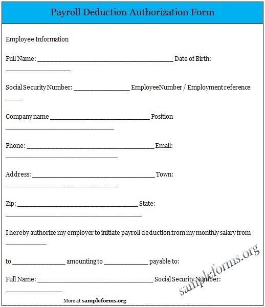 Payroll Deduction Form. Payroll Change Forms Template 13+ Payroll ...