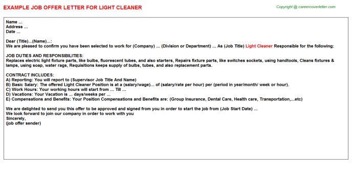 Light Cleaner Offer Letter