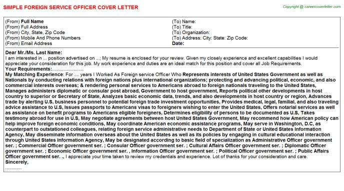Foreign Service Officer Sample Resume Foreign Service Officer