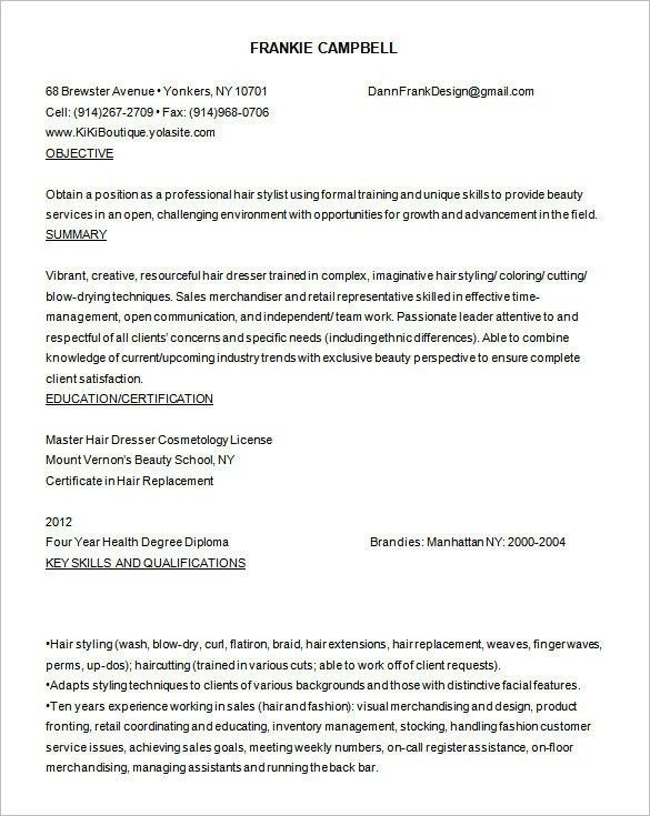 10+ Hair Stylist Resume Template - Free PDF, Word, PSD