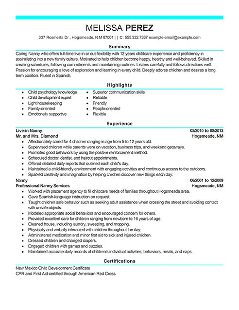 Example of a modern resume