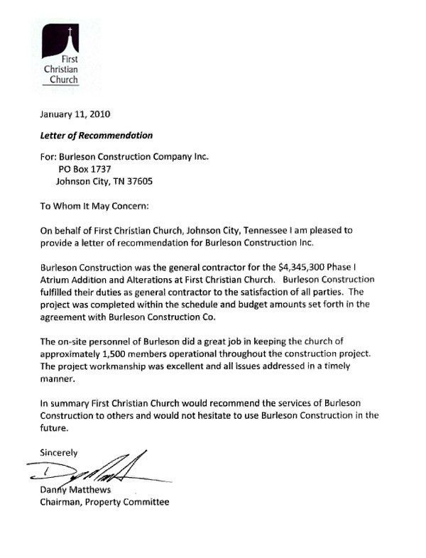 Letters of Recommendation - Burleson Construction General Contractor