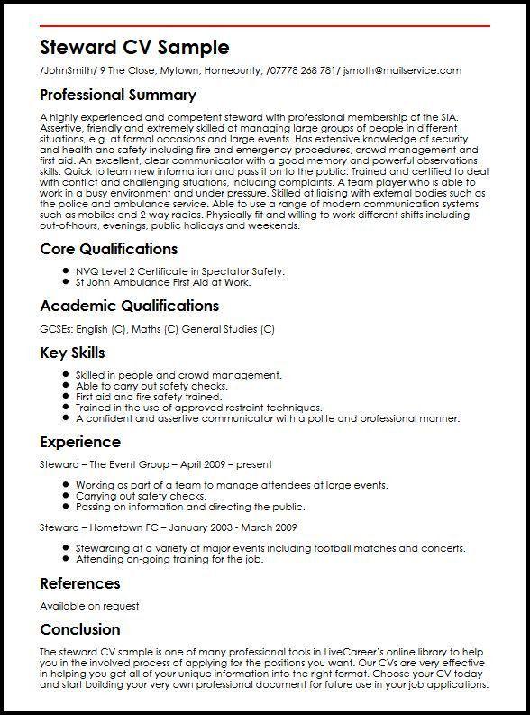 Steward CV Sample | MyperfectCV