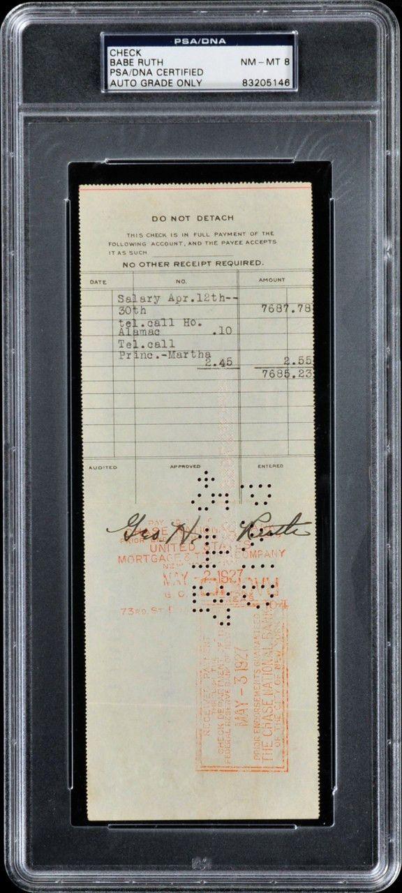 Babe Ruth 1927 New York Yankees Payroll Check Babe Ruth Central ...