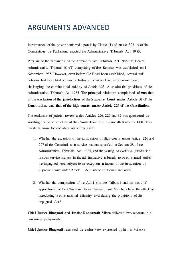L. Chandra Kumar v/s U.O.I [A.I.R 1997 SC 1125]- IRAC