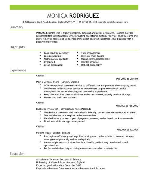 resume cashier example resume cv cover letter. cashier sample ...