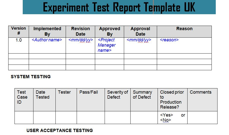 Experiment Test Report Template UK Doc - Project Management ...