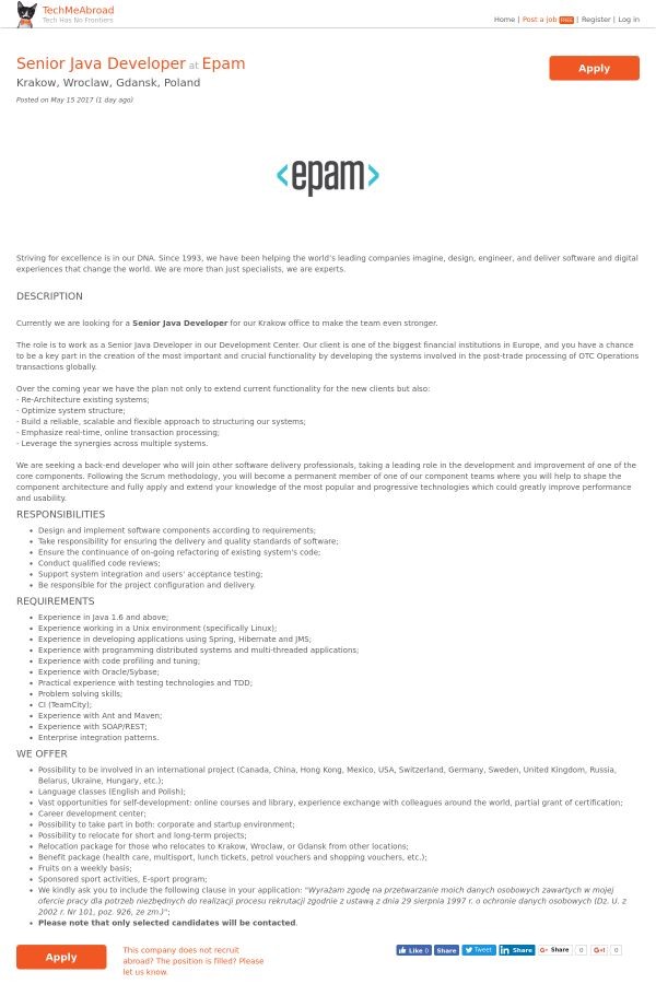 Senior Java Developer job at Epam in Kraków, Poland | Tapwage Job ...