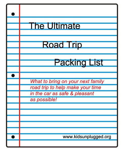The Ultimate Road Trip Packing List | Kids Unplugged