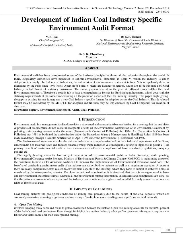Development of Indian Coal Industry Specific Environment Audit Format