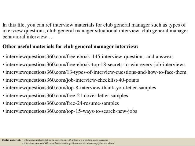 Top 10 club general manager interview questions and answers