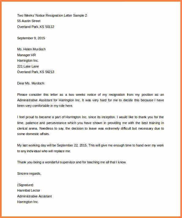 6+ resignation letter examples 2 weeks notice | Resign Letter Job