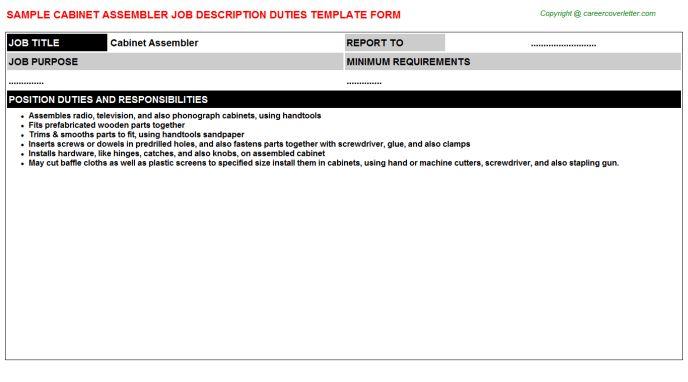 Cabinet Assembler Job Description