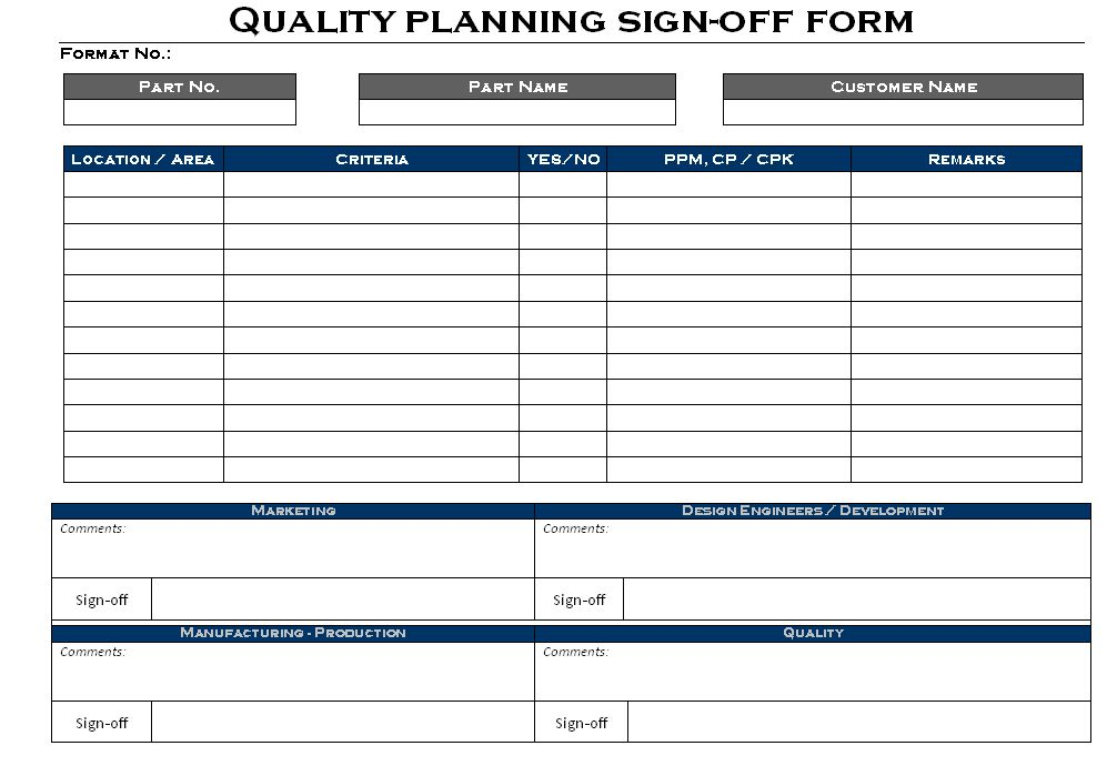 Quality Planning sign-off Form format | Samples | Word Document ...
