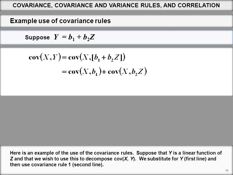 1 COVARIANCE, COVARIANCE AND VARIANCE RULES, AND CORRELATION ...