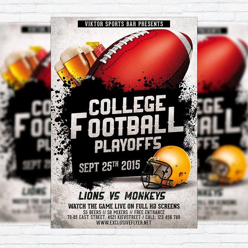 American Football Vol.2 – Premium Flyer Template + Facebook Cover ...