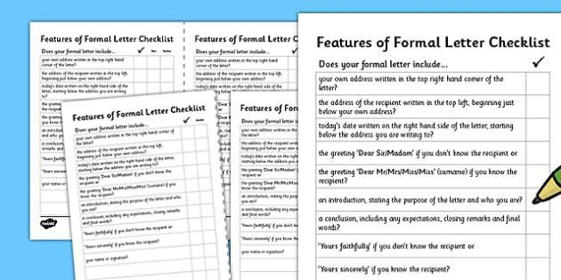 Formal Letter Writing Checklist - formal letter writing, writing