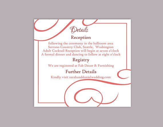 DIY Wedding Details Card Template Editable Text Word File Download ...