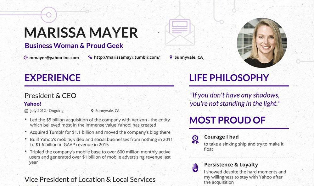 Make your content look as good as this CV from Yahoo's CEO ...