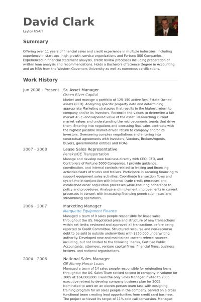 Asset Manager Resume samples - VisualCV resume samples database