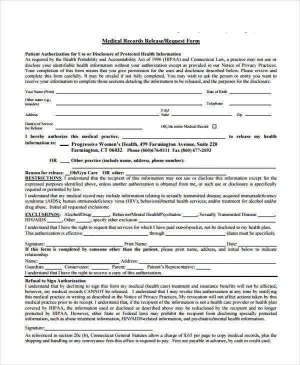 Medical Records Request Forms. Medical Records Lon J Lutz, M D ...