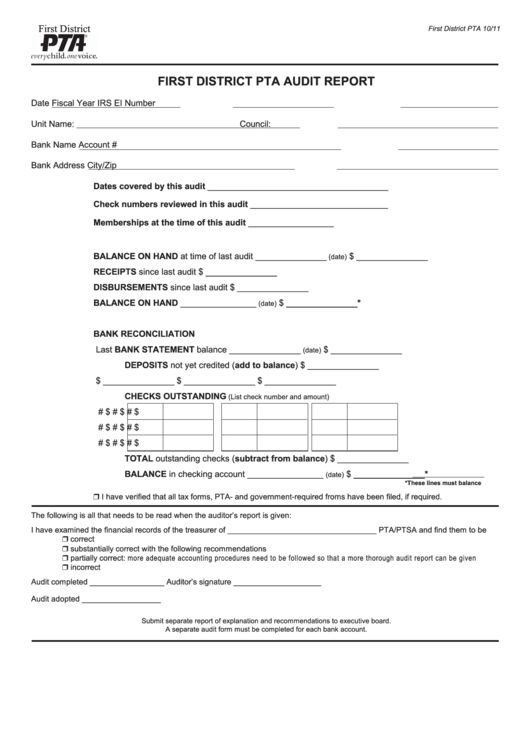 Top Pta Audit Form Templates free to download in PDF, Word and ...