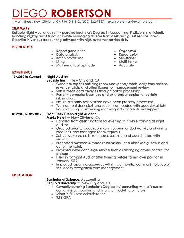 Unforgettable Night Auditor Resume Examples to Stand Out ...