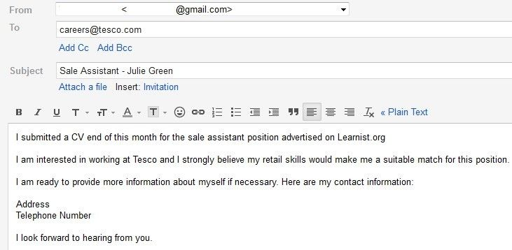 Sample Follow Up Letter After Submitting A Resume #5668