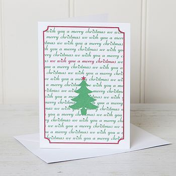personalised festive typography word christmas card by lovely ...