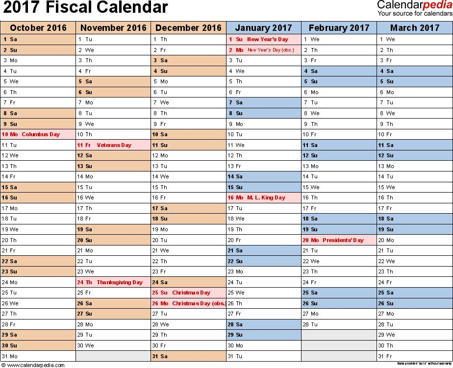 Fiscal calendars 2017 as free printable Excel templates