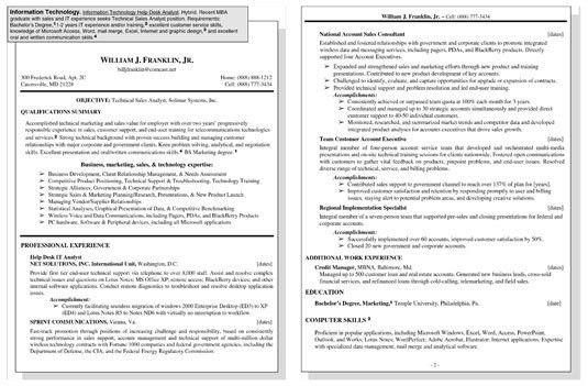 Information Technology Resume - Resume Example