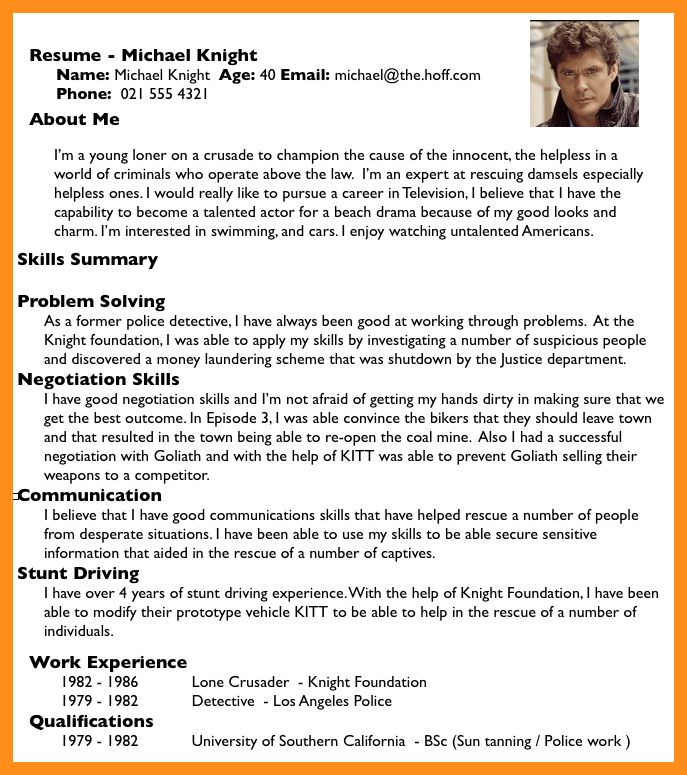 8+ cv about me examples | fillin resume
