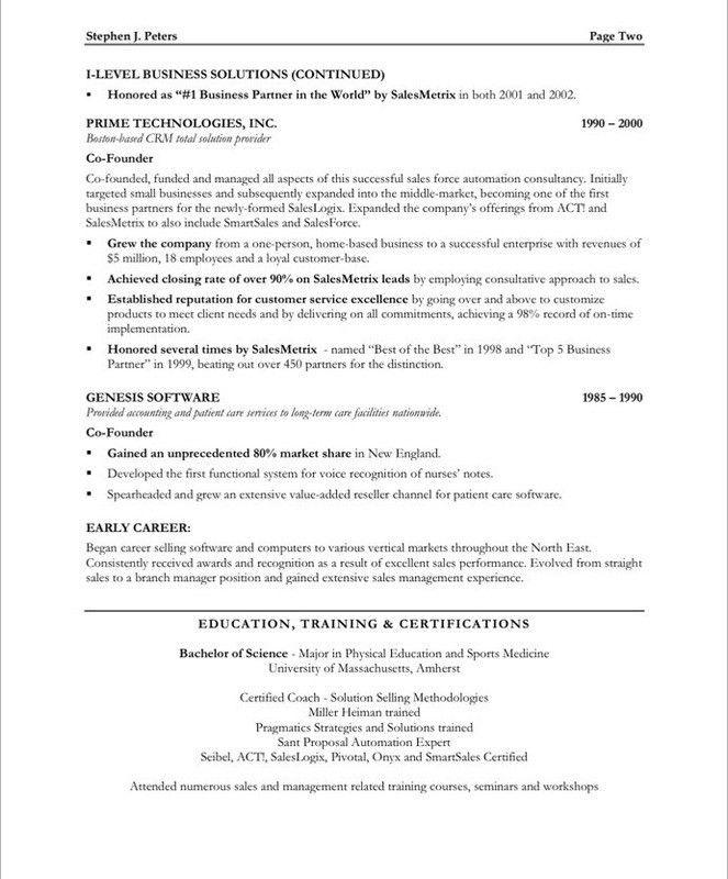 Sample Sales - Executive Resumes l Free Executive Resume Samples l ...