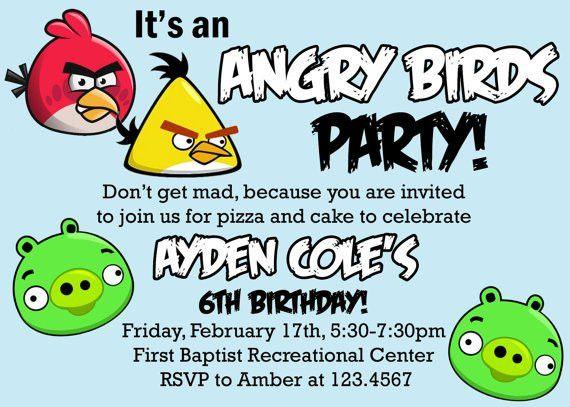 Birthday Invitations : Angry Bird Invitations Templates Ideas ...