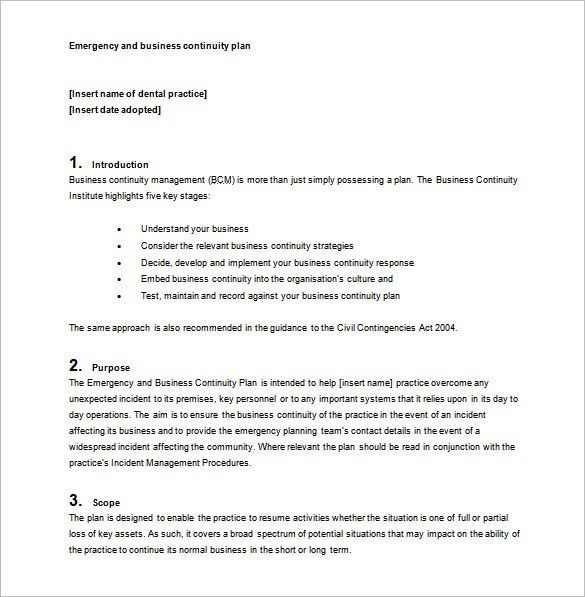 Business Continuity Plan Template - Download Free Word, PDF ...