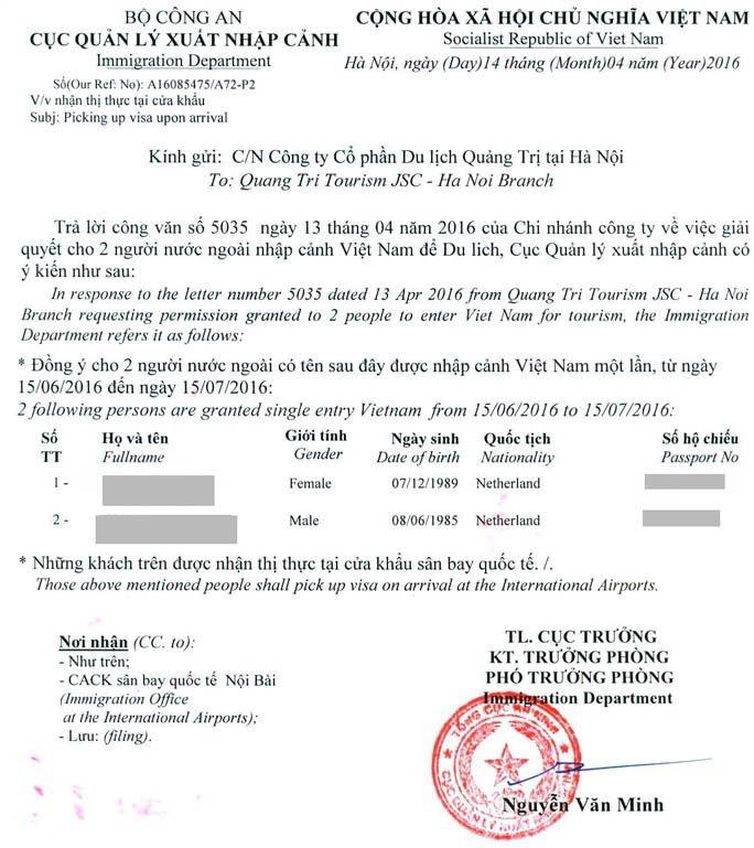 Visa on arrival (voa) for Vietnam