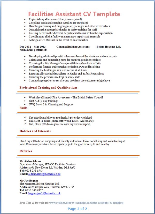 Facilities Assistant CV Template + Tips and Download – CV Plaza